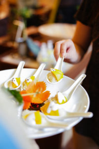 Mango sticky rice samples for guests when catering with Salathai Burrard Vancouver
